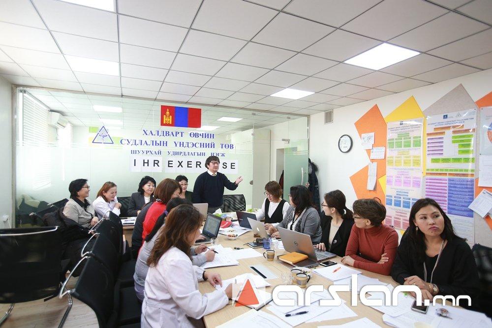 Фото: ХӨСҮТ дээр олон улсын эрүүл мэндийн дүрмийн ширээний дасгал сургуулилт боллоо Arslan.mn