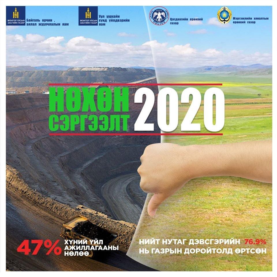 """Экологийн цагдаагийн албанаас """"Нөхөн сэргээлт-2020"""" арга хэмжээг зохион байгуулж байна"""