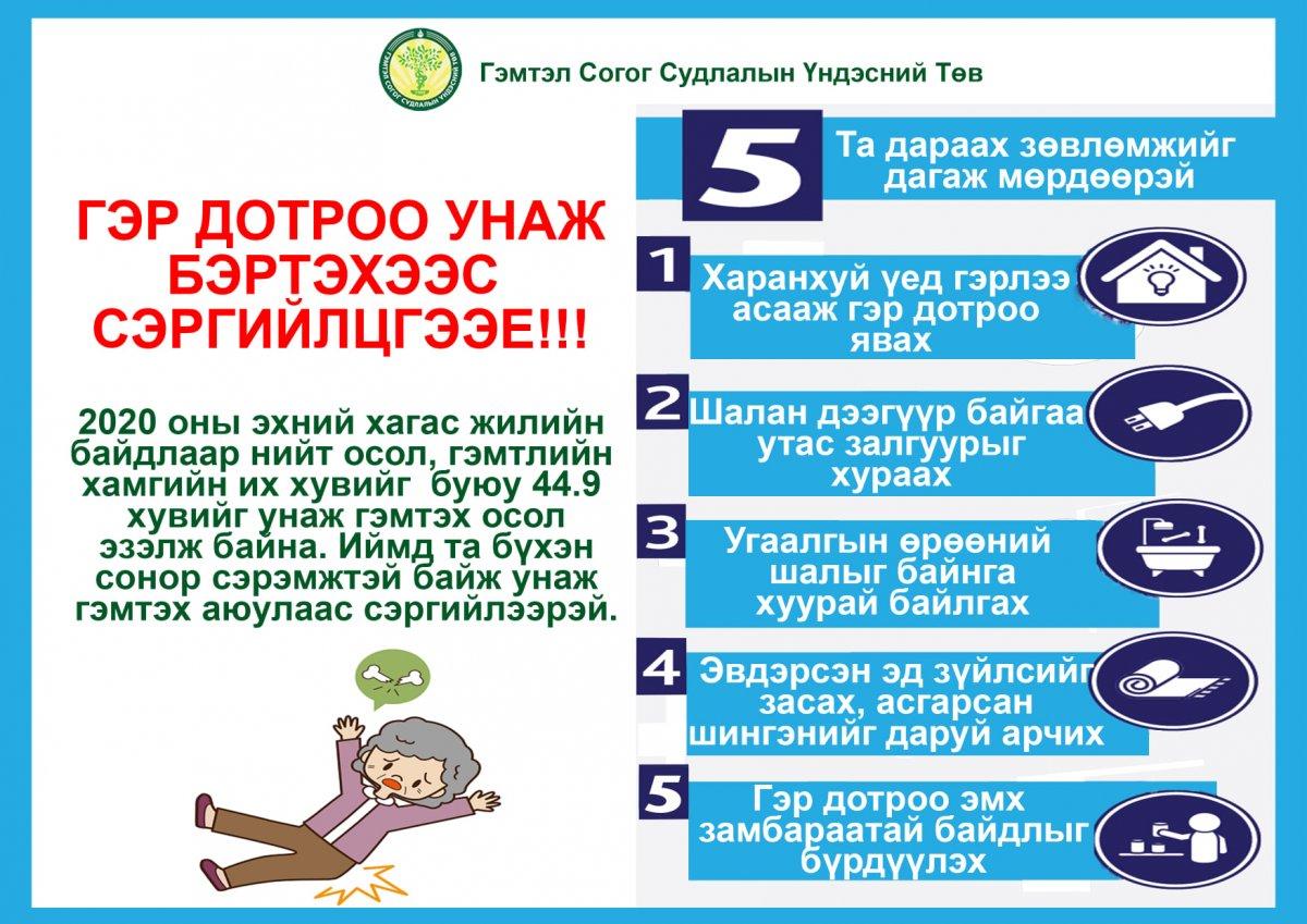 Гэмтэж бэртэхээс сэргийлэх 5 ЗӨВЛӨМЖ