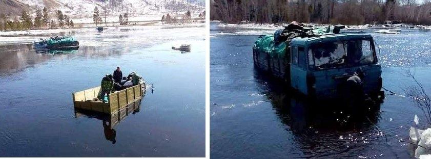 """""""Ерөө"""" голыг гатлах гэж байгаад мөсөнд цөмөрсөн ачааны хоёр машиныг аврагчид гаргажээ"""