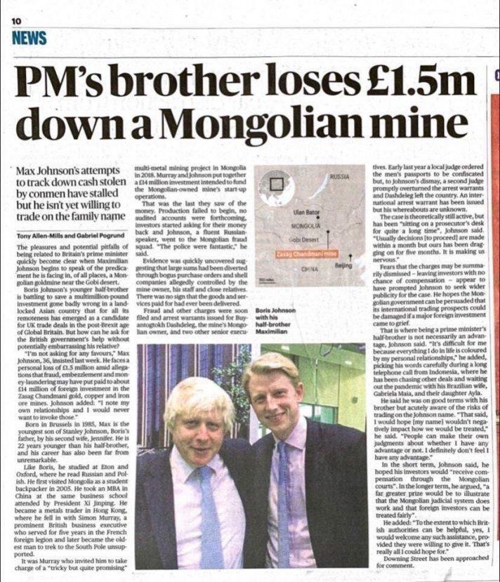 """""""Борис Жонсоны дүү Монголын залилангийн бүлэглэлд 14 сая фунт алдлаа"""" гэж """"The Times""""-т бичжээ"""